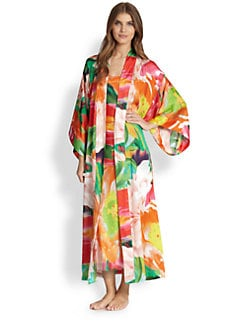 Natori - Garbo Floral-Print Long Robe