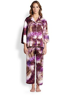 Natori - Printed Charmeuse Notch Pajama Set