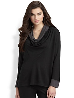 Natori - Cowlneck Bicolor Jersey Shirt