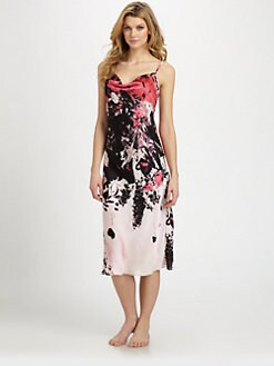 Natori - Bias-Cut Satin Print Gown