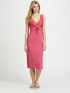 Natori - Lace-Bodice Jersey Gown