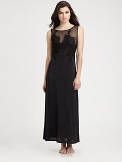 Natori - Lace & Mesh Sleeveless Gown