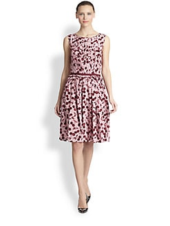 Nina Ricci - Cherry-Print Silk Pleated Dress