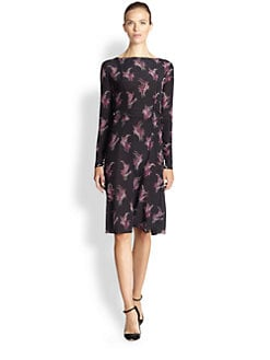 Nina Ricci - Floral-Print Silk Long-Sleeve Dress