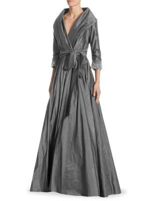 Classic Shawl-Collar Silk Gown