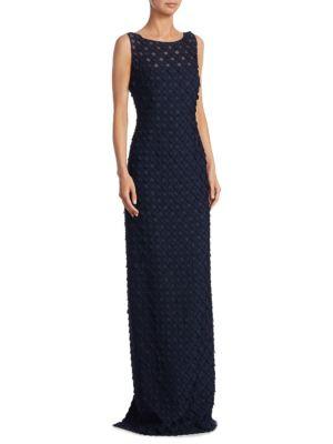 Sleeveless Organza Circle Appliqué Gown