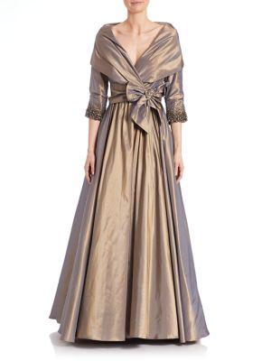 Metallic Tie-Front Gown