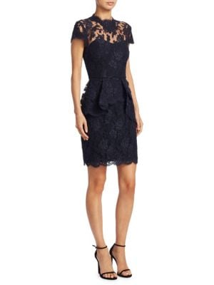 REEM ACRA Lace Peplum Dress