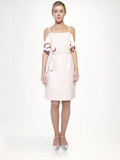 Chloe - Poplin Ruffle-Sleeve Dress