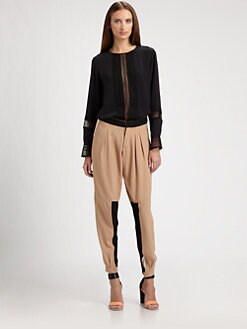 Chloe - Lace-Trimmed Silk Blouse