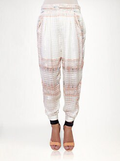 Chloe - Silk Tassel Print Pants