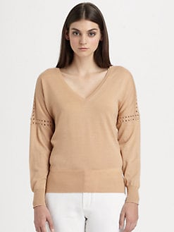 Chloe - Merino Wool Eyelet Sweater