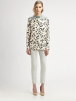 Chloe - Silk Twill Brushstroke Blouse