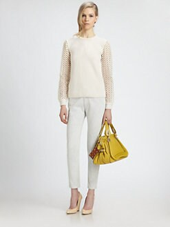 Chloe - Popcorn Lace-Sleeve Pullover
