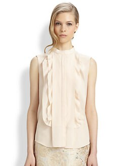 Chloe - Sleeveless Silk Ruffle Blouse