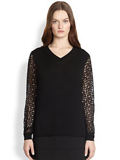 Chloe - Lace-Sleeve Sweater