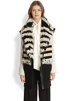 Chloe - Leather-Trimmed Shearling Vest