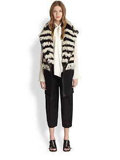 Chloe - Leather-Trimmed Shearling Vest