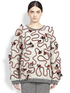 Stella McCartney - Squiggle-Trim Boucle Sweatshirt