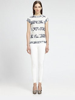 Stella McCartney - Striped Floral Organic Cotton Tee