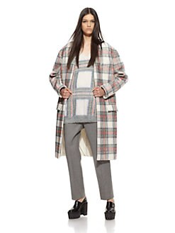 Stella McCartney - Collarless Plaid Coat
