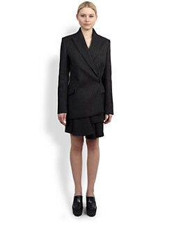 Stella McCartney - Asymmetrical Double-Breasted Pinstripe Blazer