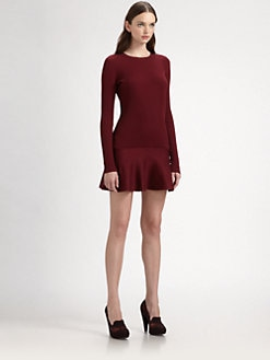 Stella McCartney - Ribbed Wool & Silk Satin Combo Dress