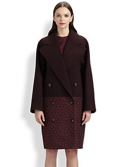 Stella McCartney - Paisley Brocade-Paneled Wool Coat