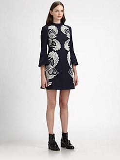 Stella McCartney - Wool & Cashmere Bell-Sleeved Embroidered Dress
