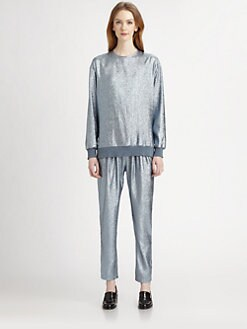 Stella McCartney - Metallic Silk-Blend Sweatshirt