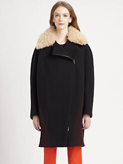 Stella McCartney - Shearling-Trimmed Wool Cocoon Coat