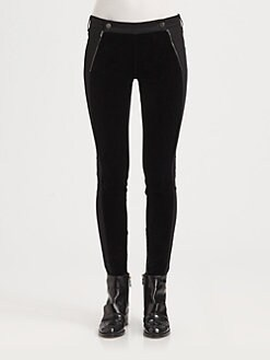 Stella McCartney - Velvet-Paneled Skinny Jeans