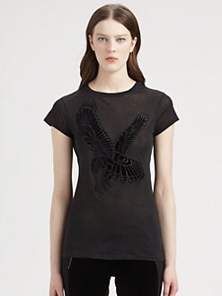 Stella McCartney - Velvet Eagle-Appliquéd Burnout Cotton Tee