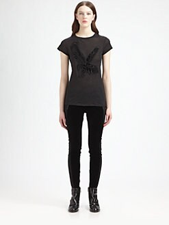 Stella McCartney - Velvet Eagle-Appliqu&eacute;d Burnout Cotton Tee
