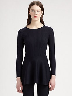 Stella McCartney - Wool & Silk Peplum Ribbed Sweater