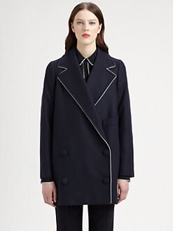 Stella McCartney - Wool & Cashmere Piped Double-Breasted Peacoat