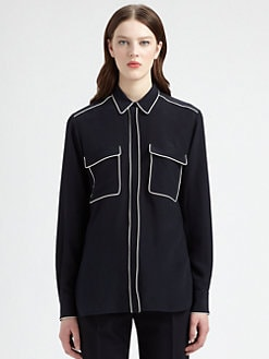 Stella McCartney - Eagle-Back Piped Silk Blouse