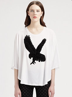 Stella McCartney - Eagle-Appliquéd Draped Cotton Tee