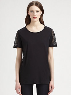 Stella McCartney - Lace-Paneled Cotton Jersey Tee