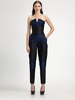 Stella McCartney - Strapless Striped Shantung Jumpsuit