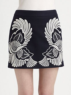 Stella McCartney - Wool & Cashmere Embroidered Skirt