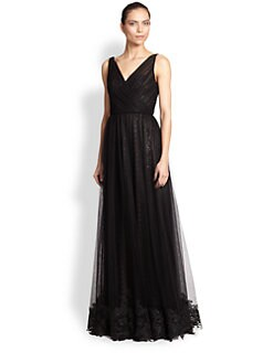 ML Monique Lhuillier - Embroidered Tulle & Sequin Dress