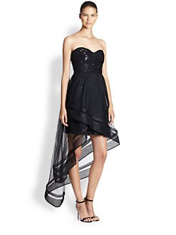 ML Monique Lhuillier - Layered Tulle Sequined Strapless Dress