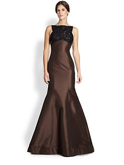 ML Monique Lhuillier - Jewel-Top Trumpet Gown