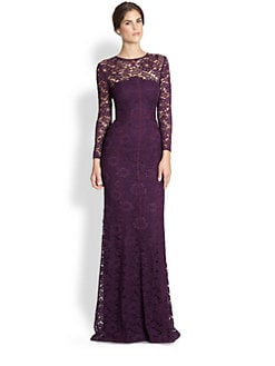 ML Monique Lhuillier - Long-Sleeve Lace Illusion Gown