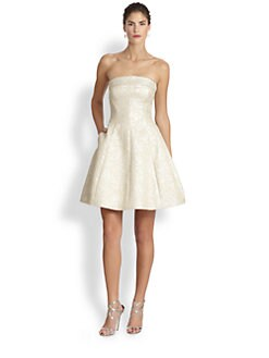 ML Monique Lhuillier - Strapless Brocade Cocktail Dress