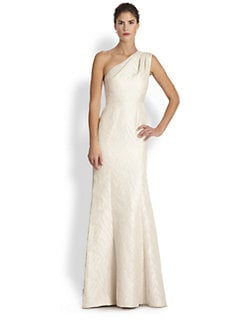 ML Monique Lhuillier - Jacquard One-Shoulder Gown