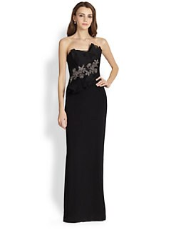 Notte by Marchesa - Silk Crepe Strapless Gown