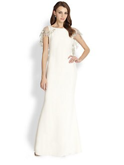 Notte by Marchesa - Silk Embroidered Cape Gown