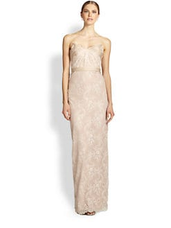 Notte by Marchesa - Draped Strapless Lace Gown